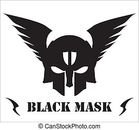 winged black skull mask