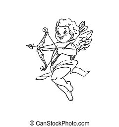 Winged boy Cupid with arrow and bow