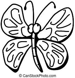 Winged Bug Cartoon Character Line Drawing