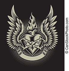 Winged Burning Heart With Thorns - fully editable vector...