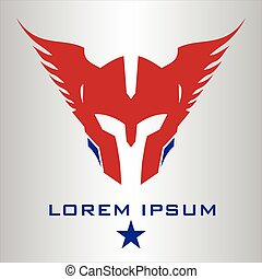 winged, cabeça, guerreira, mascot.