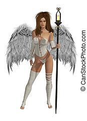 winged, cabelo, branca, morena, anjo