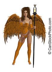 winged, cabelo, morena, anjo, laranja