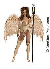 winged, cabelo, morena, bege, anjo