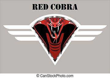 winged, cobra, escudo, vermelho