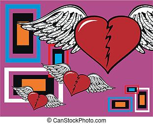 winged, coração, background2