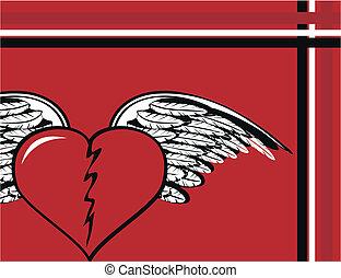 winged, coração, background3