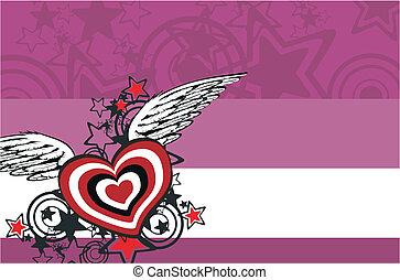 winged, coração, background4