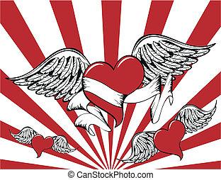 winged, coração, background7