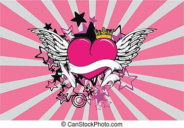 winged, coração, background8