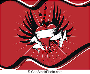 winged, coração, background9
