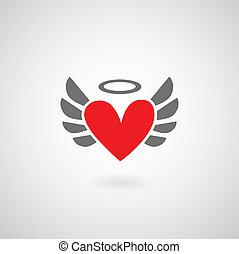 winged, coração, símbolo