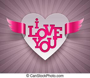 winged, coração, valentines