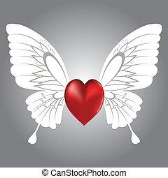 winged, coração