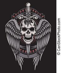 winged, cranio, com, espada, aderido