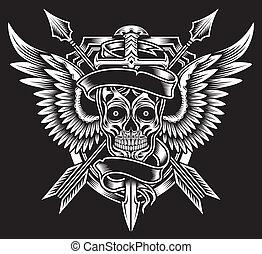 winged, cranio, com, espada, e, setas