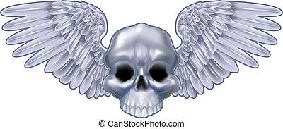 winged, cranio, ilustração