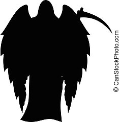 Winged death with a scythe silhouette isolated on white background