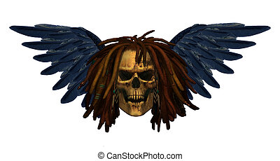 Winged Demon Skull with Dreadlocks