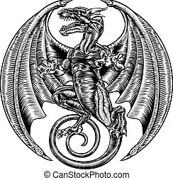 Winged Dragon Woodcut - A dragon in a vintage engraved...