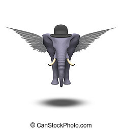 Winged Elephant in a bowler hat