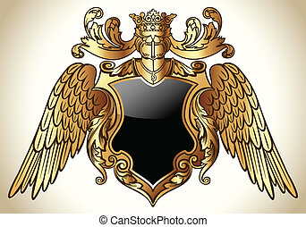 Coat of Arms vector illustration with shield, helmet and wings. Colors are grouped and easily editable.