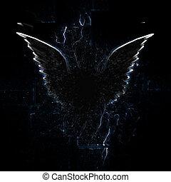 winged, esboço, criatura