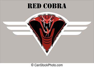 winged, escudo, vermelho, cobra