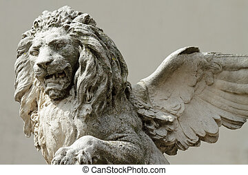 winged, escultura, leão, veneziano