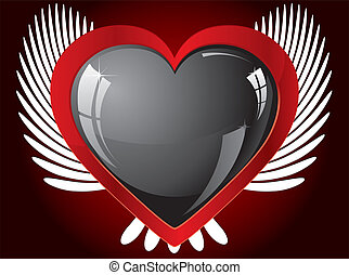 Winged glitter black heart, vector illustration
