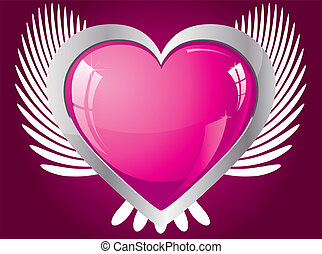 Winged glitter pink heart, vector illustration