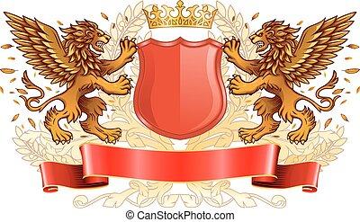 Winged Golden Lions Holding Shield Emblem