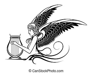 Winged Greek Muse - Illustration of ancient winged Muse...