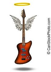 winged, guitarra, base, halo