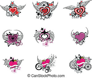 winged heart cartoon set1 - winged heart set in vector...