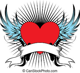winged heart emblem - winged heart, individual objects very...
