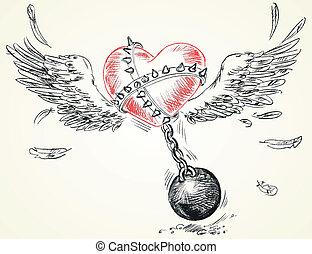 Winged heart fettered fetters