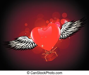 winged heart gift - Heart with wings. Abstract Composition...