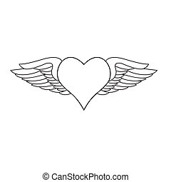 Winged heart - Heart with angelic wings. Vector...