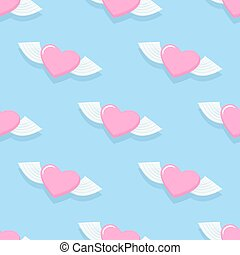 Winged heart seamless pattern. Background for Valentine's day. Heart with Angel wings. Vector illustration