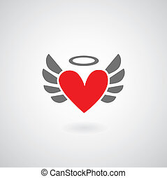 Winged heart symbol on gray background