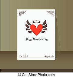 winged heart vintage card design
