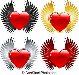 winged hearts  - Various designs of hearts with wings