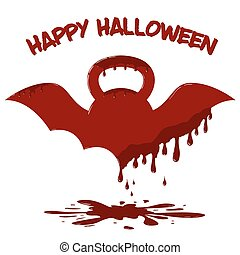 Winged kettlebell with dripping blood. Illustration of Halloween card template.