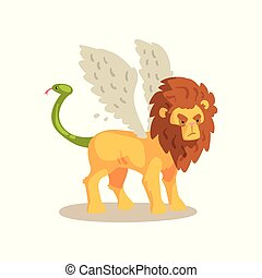 Winged Lion ancient mythical creature cartoon vector...