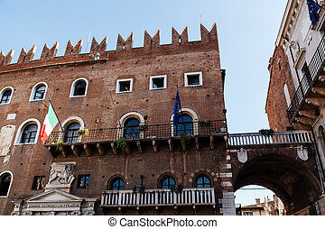 Winged Lion Bas-Relief on Piazza dei Signori in Verona, Veneto, Italy