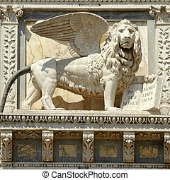 winged lion decoration on facade