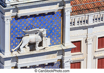 Winged lion of Venice on the clock tower