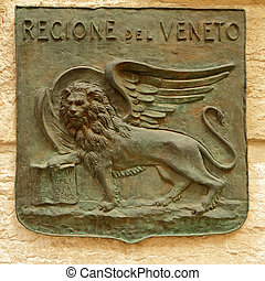 winged lion on relief