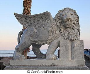 Winged Lion statue at Foinikoudes promenade, Larnaca, Cyprus
